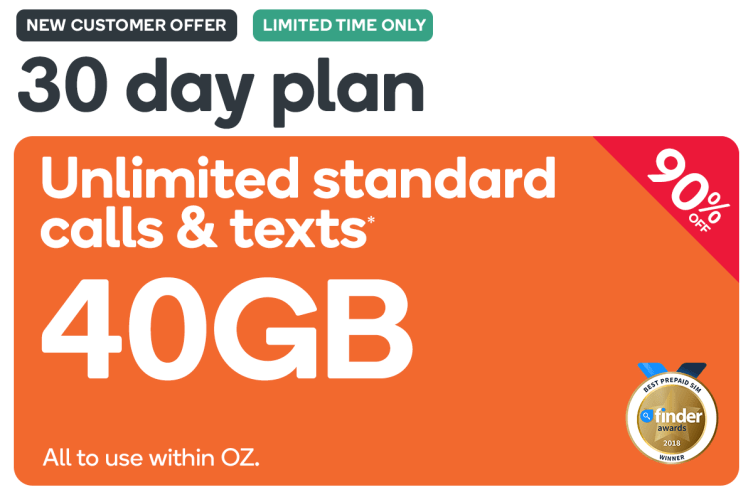 40GB+Unlimited T&T - Kogan Mobile Prepaid Voucher Code: EXTRA LARGE (30 Days | 40GB) - New Customers Only