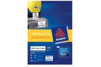AVERY HD VINYL 199.6X143.5MM 25 SHEETS