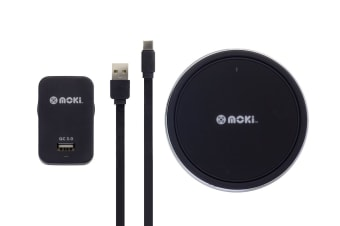 Moki ChargePad Qi 10W Wireless Phone Charger with  3.0 Type-C Rapid Wall Charger (ACCMCPQI)