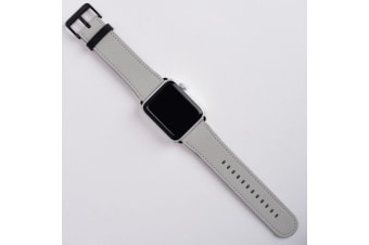 For Apple Watch Band (42mm) Series 1  2  3 & 4 Vegan Leather Strap iWatch Grey