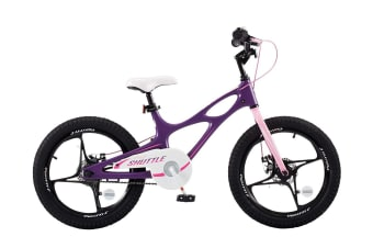 RoyalBaby Space Shuttle 18'' Kids Bike for Boys and Girls 18 Inch Magnesium Bicycle with 2 Hand Disc Brakes, Child's Cycle incl Kickstand, Purple