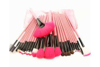 24Pcs Cosmetic Brushes And Multicolored Cosmetic Tools Pink