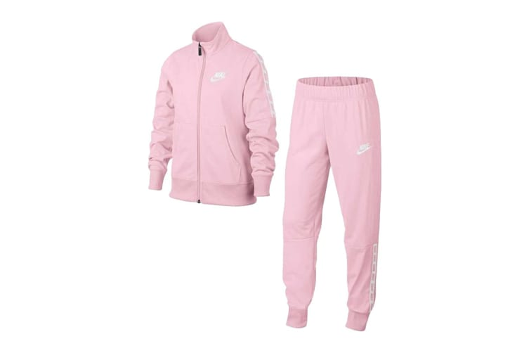 Nike Sportswear Girls' Tracksuit Tricot (Pink/White, Size L)