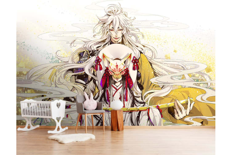 3D Fox Mask White Hair 49 Anime Wall Murals Woven paper (need glue), XL 208cm x 146cm (WxH)(82''x58'')