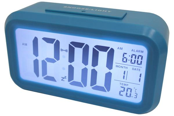 Light Sensor Alarm Clock W/ Backlit Display Portable Battery Operated Blue