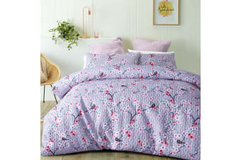 Cherry Blossom Quilted Quilt Cover Set by Big Sleep