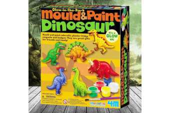 Glow-In-The-Dark Mould & Paint Dinosaur Fridge Magnets – Animals T-Rex Archaeology Prehistoric Moulding Paint