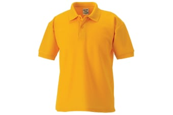 Jerzees Schoolgear Childrens 65/35 Pique Polo Shirt (Pack of 2) (Pure Gold) (1-2)