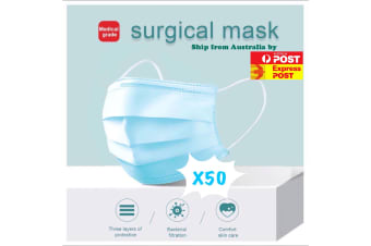 50 X Disposable Surgical Medical Face Mask Protective Masks 3 layers for Medical Dental Flu