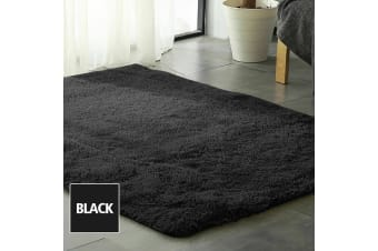 Designer Soft Shag Shaggy Floor Confetti Rug Carpet Home Decor 200x140cm Black  -  Black 140x200cm