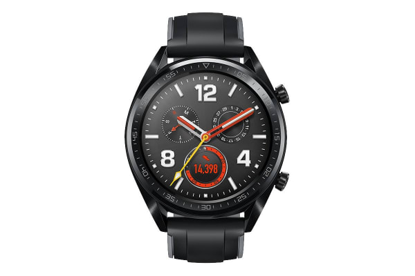 Huawei Watch GT Smart Watch (Black Stainless Steel with Silicone Strap)