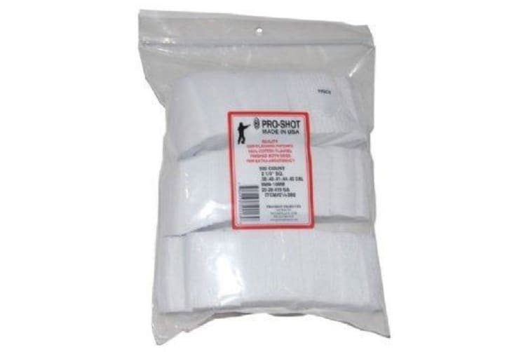 Pro-shot 500pcs Cotton Patches For Rifle .38cal-.40-.41-.44-.45cal/9mm/10mm