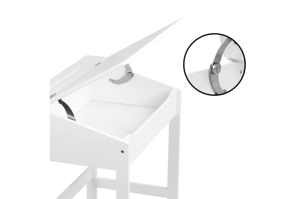 Kids Lift-Top Desk and Stool (White)