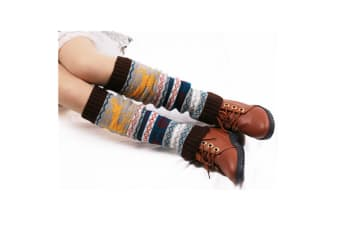 Boot Cover,Morecome Womens Leg Warmers Snow Deer Patchwork Knee Leg Socks Coffee