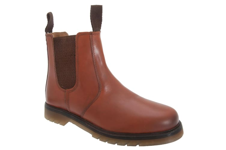 Grafters Mens Plain Leather Chelsea Boots (Conker Brown) (7 UK)