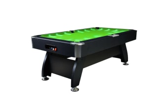 7FT Modern Design MDF Pool Table Snooker Billiard Game Table with LED Light Top with Accessories Pack, Black Frame / Green Felt