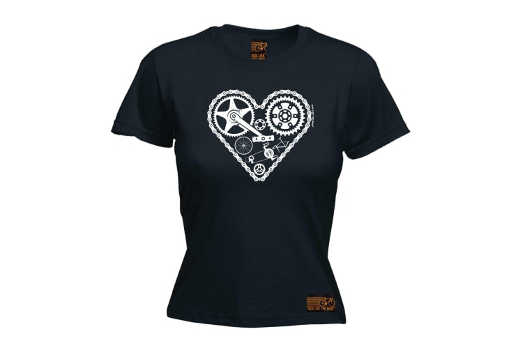 Ride Like The Wind Cycling Tee - Heart Cycle Parts - (XX-Large Black Womens T Shirt)