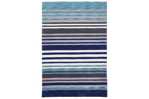 Modern Abrash Stripes Rug Blue Grey 280x190cm