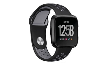 Silicone Sport Band With Ventilation Holes Replacement Straps For Fitbit Versa Smartwatch Black Grey