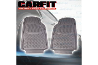 2x FRONT RUBBER NON SLIP FLOOR MATS CHEQUERED PLATE 4X4 4WD TRAP MUD SAND GREY