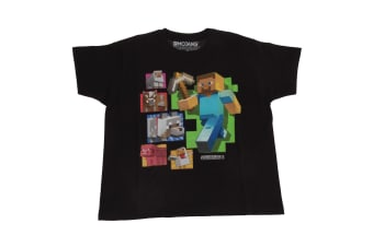 Minecraft Childrens/Kids Steve And Friends T-Shirt (Black)