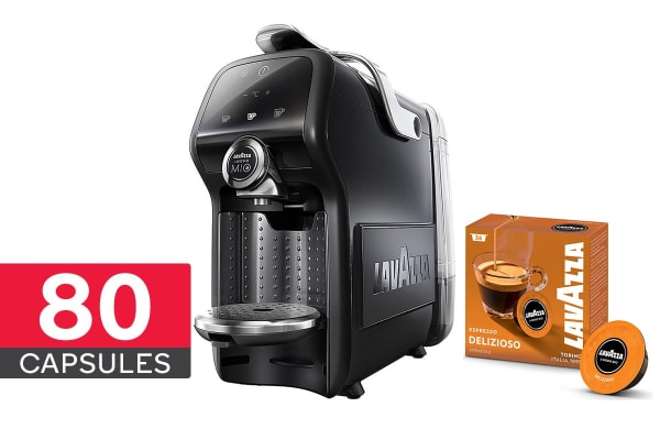 Lavazza Magia with Milk Frother + 80 FREE Capsules (Black)