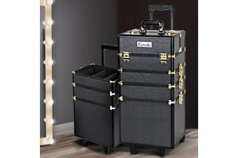 7 In 1 Professional Cosmetic Beauty Case Makeup Trolley Aluminum Box