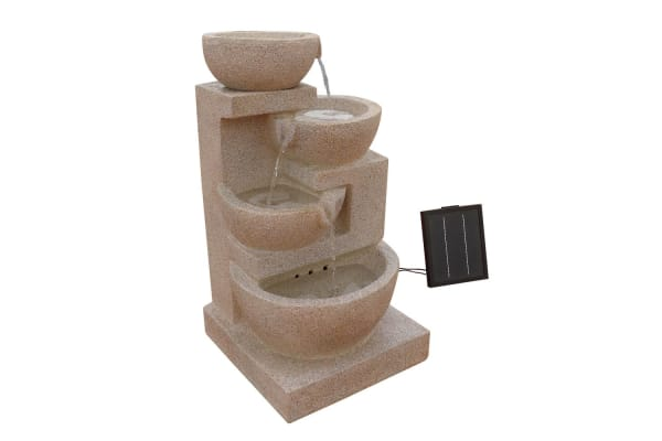 Solar Power FourTier Water Fountain Feature with LED Light (Sand/Beige)