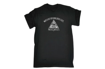 123T Funny Tee - Watch Out For Dangerous Cults - (Large Black Mens T Shirt)