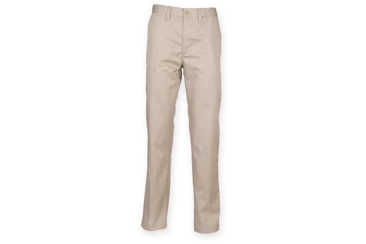 Henbury Mens 65/35 Flat Fronted Chino Trousers (Stone) (30L)