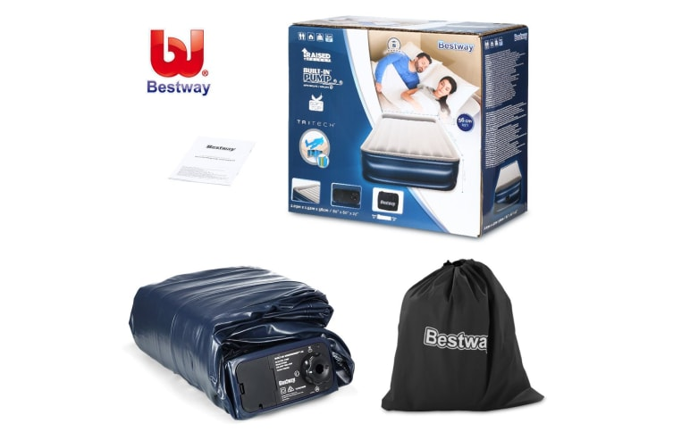 Bestway Inflatable Queen Air Mattress w/ Built-in Pump and Pillow 56cm Height