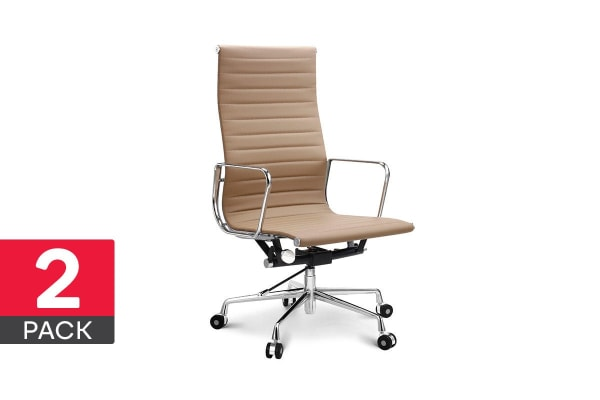 2 Pack Ovela Executive Eames Replica High Back Ribbed Office Chair (Light Brown)