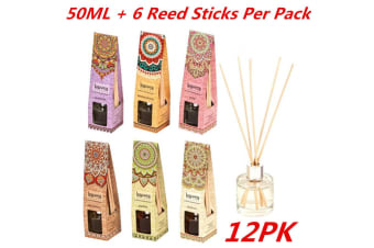 12x Scented REED FRAGRANCE DIFFUSER Sets (50ml oIL + 6 Reed Sticks per Set) Home