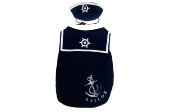 Pet Brands Happy Puppy Sailor Dog Top With Hat (Navy Blue)
