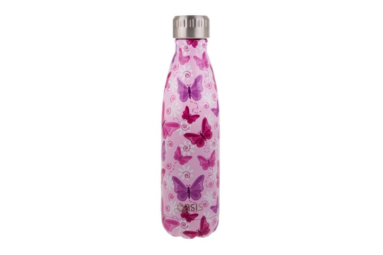 Oasis Stainless Steel Double Wall Insulated Drink Bottle 500ml Butterflies