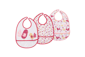 JJ Cole Feeding Bib Set 3 Pack - Pink Chickadee