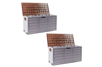 Brown 290L 2X Lockable Outdoor Storage Box
