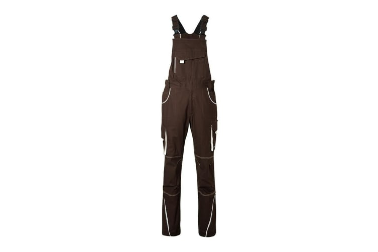 James and Nicholson Unisex Workwear Pants with Bib Level 2 (Brown/Stone) (38L)