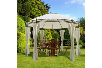 vidaXL Round Gazebo with Curtains 3.5 x 2.7 m