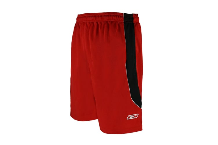 Reebok Men's Two-Toned Athletic Performance Mesh Shorts (Red/Black, Size L)