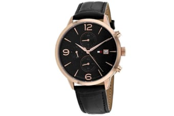Tommy Hilfiger Men's Liam Watch (Black Dial, Leather Strap)
