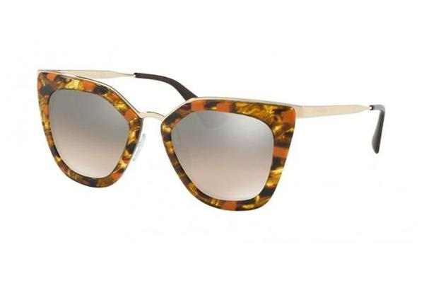 Prada PR53SS 52mm - Striped Brown Orange (Brown Grey Gradient Silver Mirror lens) Womens Sunglasses
