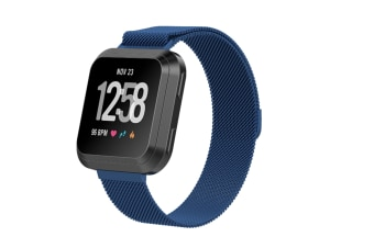 Milanese Loop Metal Replacement Bracelet Strap Wristbands For Fitbit Versa Fitness Smart Watch Blue Small Size