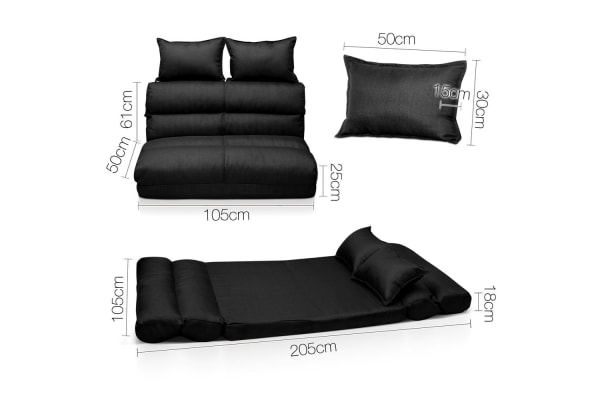 (Double) Size Adjustable Lounge Sofa 5 positions (Black)