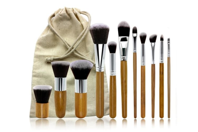 11Pcs Bamboo Handle Cosmetic Brush Sets For Assembling Environment-Friendly Linen Bags