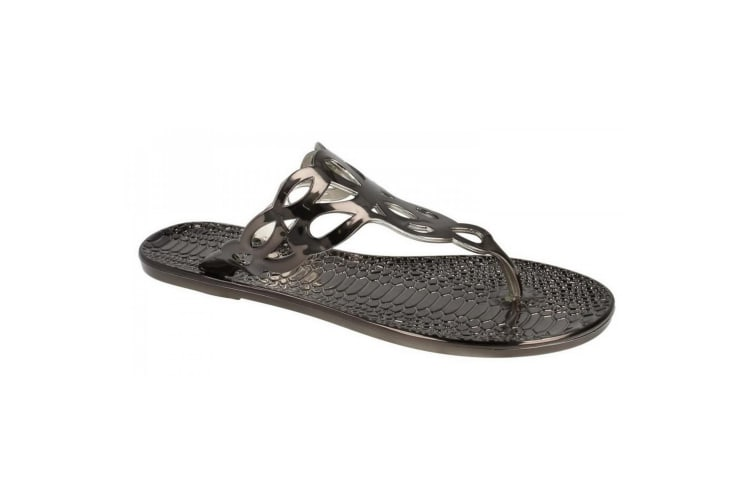 Spot On Womens/Ladies Flat Toepost Crocodile Pattern Sandals (Pewter) (5 UK)
