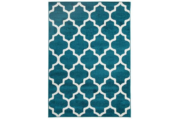 Indoor Outdoor Morocco Rug Peacock Blue 330x240cm