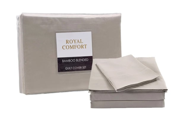 Royal Comfort Blended Bamboo Quilt Cover Set + Bamboo Pillow Twin Pack (Double, Warm Grey)