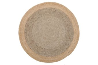Round Jute Natural Rug Silver