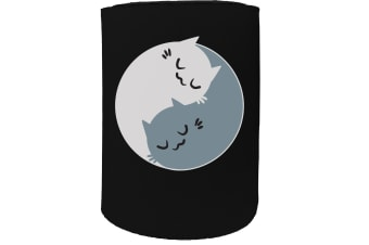 123t Stubby Holder - ying yang cats - Funny Novelty